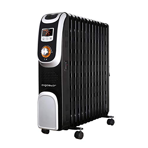 Aigostar Oil Monster 33JHH - Radiatore elettrico 13 elementi con schermo a LED, Telecomando a distanza, Potenza 2500W. Design esclusivo.