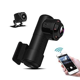 Yakola Y9 WiFi DashCam,Dual Mini Autokamera,Full HD2160P Frontkamera mit 720PAHD Rückfahrkamera, 360°Panorama Fischaugen Linse,Infrarot Nachtsicht,Parkmonitor,G-Sensor,Loop Aufnahme,IP68 Wasserdicht