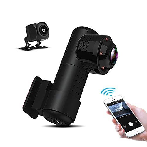 Yakola Y9 Wifi DashCam,Dual mini Autokamera, Full HD2160P Frontkamera mit 720PAHD Rückfahrkamera, 360°Panorama Fischaugen Linse,Infrarot Nachtsicht,Parkmonitor,G-Sensor, Loop Aufnahme,IP68 Wasserdicht (Auto-backup-kamera Wlan)