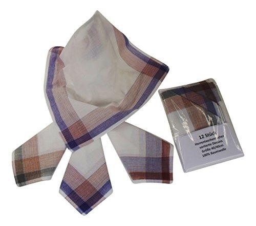 12 Herren Stoff-Taschentücher in unterschiedlichen wählbaren Designs, 40 cm x 40 cm