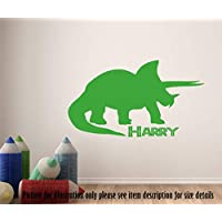 Triceratops Dinosaur Wall Sticker, Personalised Name Dino Wall Decal, Playroom Kid