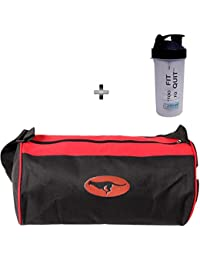 5 O'Clock Sports Combo Of Red Gym Bag And Shaker Bottle 600 Ml
