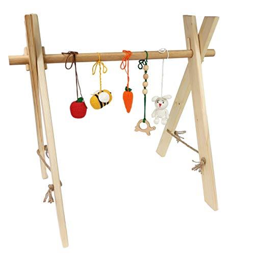Faltbare Baby Gym Set mit 5abnehmbaren Crochet Spielzeug, die aus natürlichen Holz–Baby Activity Play Bar für Neugeborene