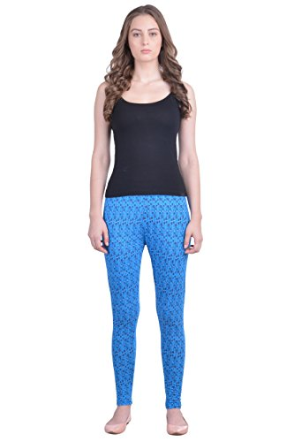 Dollar Missy Women's Cotton Blue Color Floral Printed Slim Fit Ankle Length Leggings