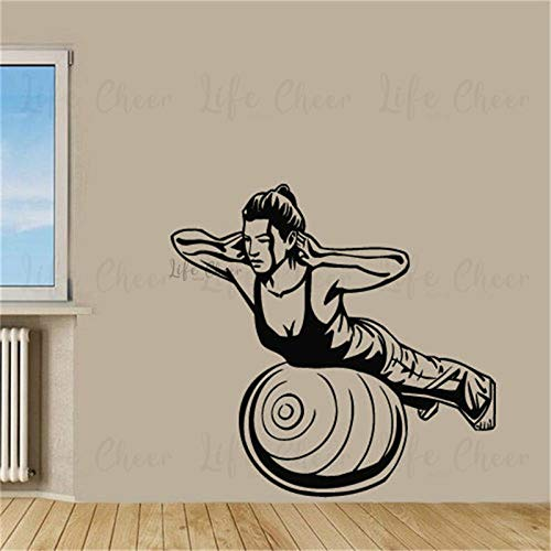 woyaofal Fitness Sport Frau Vinyl Wandbilder Yoga Training Wandaufkleber Gym Sport Übung Wand Fenster Poster Abnehmbare Gym Decoratio 83x80 cm