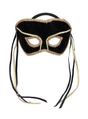 Halloween Kostüme Maske Gesicht Maske Damen Maskerade Maske Ven Maske Venezianische Karneval Maske Halbmaske schwarz mit Goldbesatz und schwarzen und goldenen Bändern für Maskerade Make-up Party