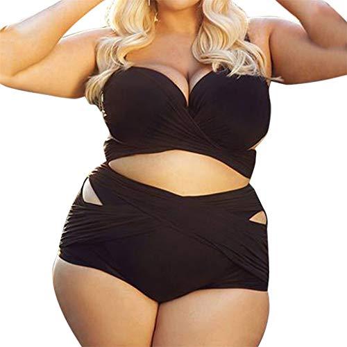 Berimaterry Damen Bademode Bikini Sets Badeanzug Plus Size Einfarbig Swimsuit Retro High Waist Übergröße Swimwear Sexy Push-up Bikinioberteil Bandeau Badeanzug Swimwear (Plus Size Bikini-badeanzug)