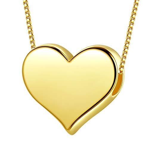 AuroraTears 925 Sterling Silber Love Heart Halskette Gold Plated Heart Shaped Anhänger Schmuck für Freundin Valentines Geschenke für Sie DP0194Y (Anhänger Shaped Heart)