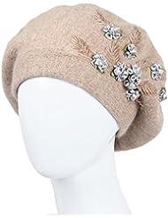 Invierno en el sombrero mayor gorras Boinas de la mujer bordadas sombrero del viejo hombre Invierno femenino ( Color : B )