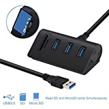 Alcey Aluminium Bus- angetrieben USB 3.0 3-Port nabe mit 2-Steckplätzen kartenleser Combo für iMac, MacBook Air, MacBook Pro, MacBook, Mac Mini, PCs und Laptops,schwarz
