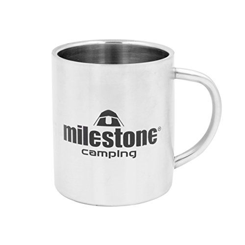 Taza de Acero Inoxidable Milestone Camping - Plata, 0,3 litros