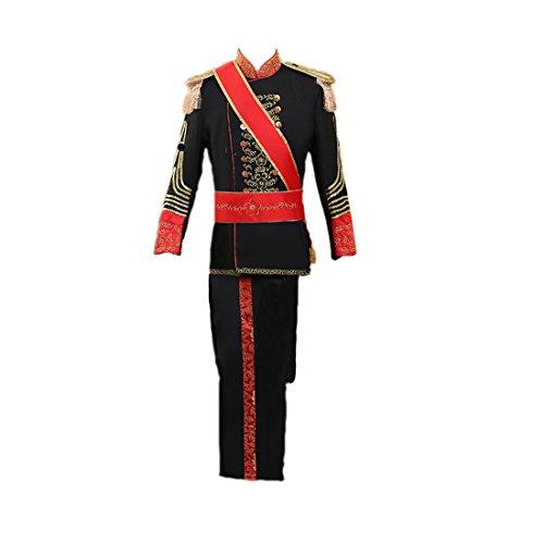 Band Kostüm Marching - Nuoqi Prinz Herren Renaissance mittelalterliches Kostüm Band Cosplay Kostüme Erwachsene (Schwarz, M)