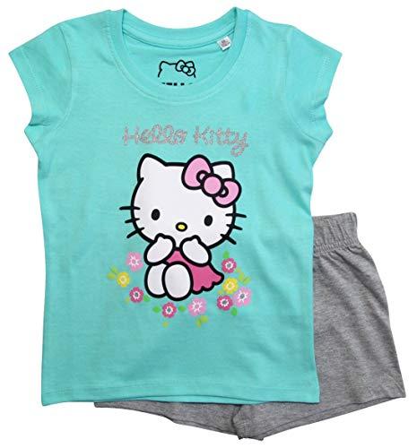 Hello Kitty Hose (Hello Kitty Schlafanzug Mädchen Shortie Pyjama Kurz (Türkis-Grau, 104))