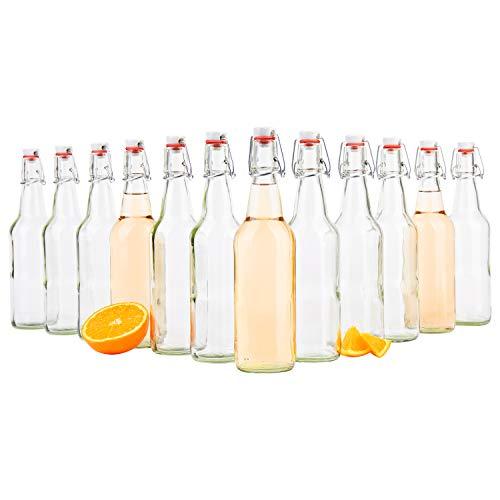 �gelflasche 500 ml I Bierpulle rund I klare Glasflaschen zum Befüllen I Most, Saft, Bier, Schnaps, Likör, Essig & Öl I Drahtbügelverschluss ()