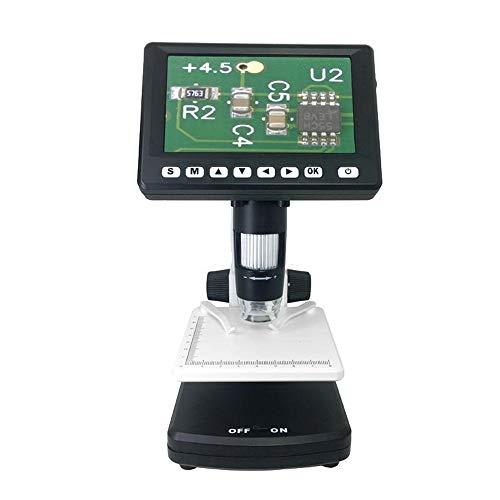 Keliour Digitalmikroskop 1000X Digital 4.3inches Mikroskop Unterstützung TV-PC-Verbindung mit weißen LED und UV-LED (Farbe : Schwarz, Größe : Einheitsgröße)