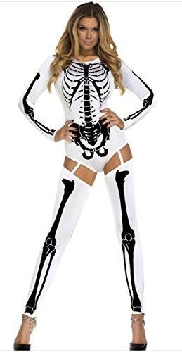 Honeystore Damen U-Ausschnitt Halloween Kostüme Langärmelig Skelett Cosplay Allerheiligen Kleider Weiß LC8948 (Cocktail Bunny Halloween Kostüme)