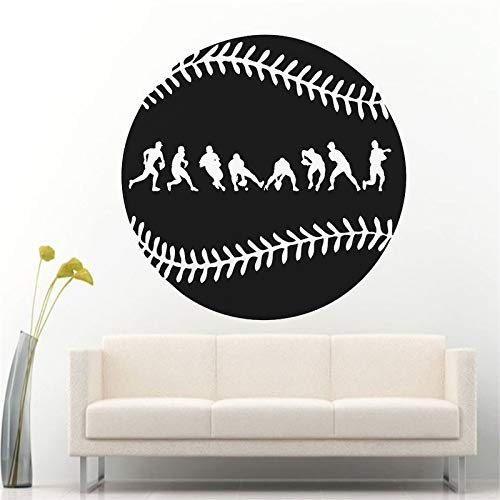 Crjzty Berühmte Sport Spielzimmer Wandaufkleber Fielder Action Wanddekoration Baseball Haltungen Wandkunst Aufkleber Home Wand Vinyl Kunst 57 * 57 cm
