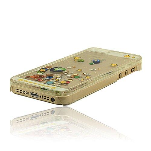 Cristal Transparent Liquide Style Fluide étoiles et Planète Rigide Dur Colorful iPhone 5 5S Coque Case Cover Housse étui de Protection Shockproof Design pour l'iPhone 5 5S 5G Transparent