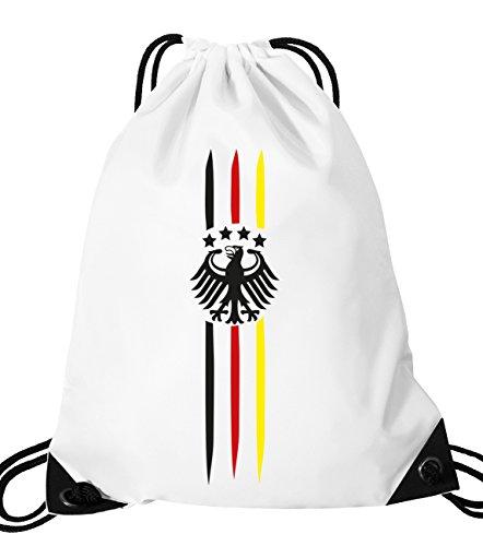 Luckja Deutschland EM 2016 Fanfest Turnbeutel Sportbeutel Tasche Weiss-Bunt