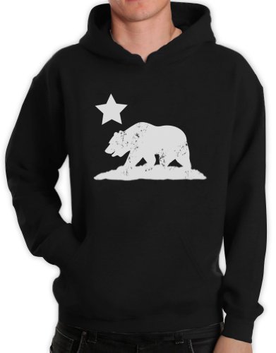Green Turtle T-Shirts CALIFORNIA REPUBLIC BEAR Schwarz Medium Kapuzenpullover Hoodie -