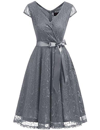 Dresstells Elegant Spitzenkleid Knielang V-Ausschnitt Brautjungfernkleid Cocktailkleid Abendkleider Grey ()