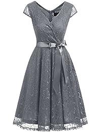Dresstells Robe de Soirée de Cocktail Robe de Demoiselle d honneur Dentelle  Forme Empire col en V Manches… 47eede3e856c
