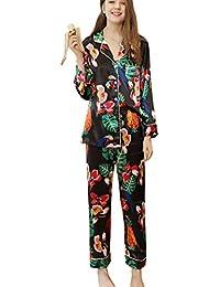 c9ac43f1e4 Mujer Pijama 2 Piezas Satén Camiseta Raso Prenda Manga Larga Patrón Impreso  ...