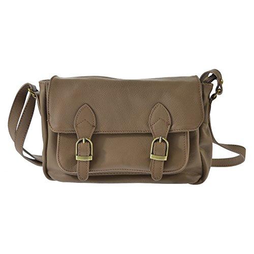 Chicca Tutto Moda CTM L'embrayage de la femme, petit sac à bandoulière en cuir véritable italien molle fabriqué en Italie 24x16x8 Cm