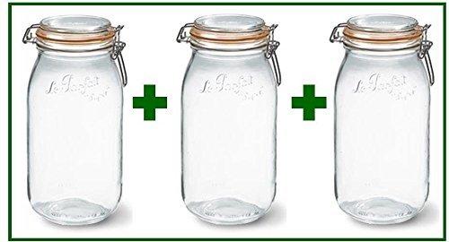 Set of 3 - Le Parfait French Super Canning Jars With Bail Lid - 68 oz / 2 liters by LeParfait 68 Oz Jar