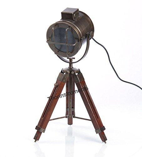 Thor Instruments.Co–Lámpara de mesa de diseño náutico, con trípode, bronce