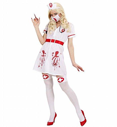 Widmann 87153 - Erwachsenenkostüm Blutige Infizierte Krankenschwester, Kleid mit Gürtel, Kopfbedeckung, Gesichtsmaske und Stethoskop, Gröߟe (Freche Erwachsenen Kostüme Krankenschwester)