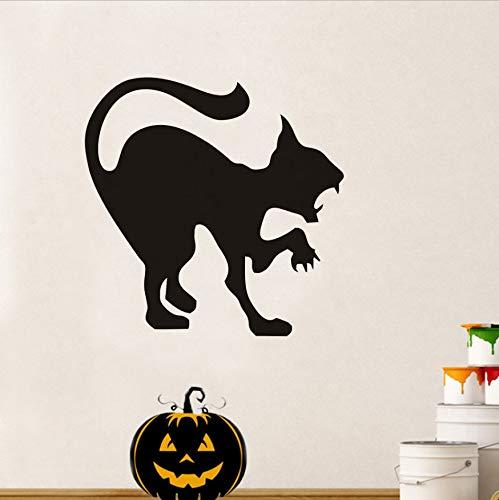 WFYY Scary Halloween Black Cat Party Aufkleber Moderne Wandaufkleber Für Kinderzimmer Dekor Wasserdichte Zubehör Tapete 44X44 cm