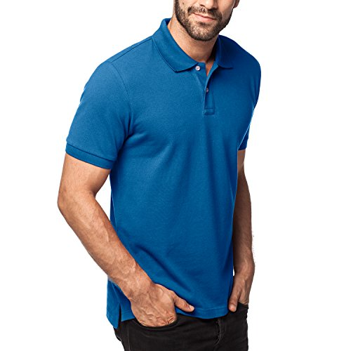 Lapasa Herren Poloshirt - 100% Premium els Baumwolle - Kurzarm Pique Polo Shirt Klassische Passform M019 (XXL/X X-Large (Brust 119 – 124cm), Blau) (Polo-shirt Pique)