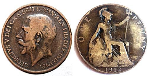 1912 One Penny (britische Münze) George V Titanic Year in akzeptablem Zustand, You Will not be Disappointed! Münzen für Sammler und die große britische Münze Hunt. -