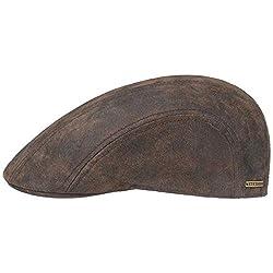 Stetson Madison Leder Flatcap Herren - Ledercap im Vintage-Stil - Schirmmütze mit Innenfutter aus Baumwolle - Mütze Sommer/Winter - Schiebermütze braun L (58-59 cm)