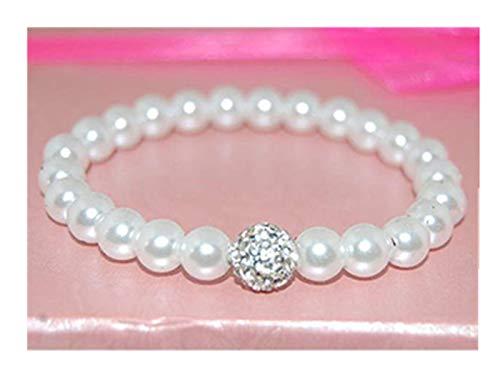 Wir Sind Forever Family Weiß Glas Perlen Armband Brautjungfer Schmuck, Hochzeit Armband, Party Armband Kind Disco Dolly