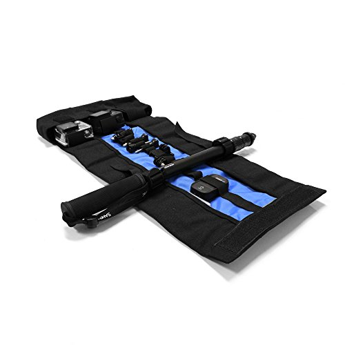 SANDMARC Armor Bag - Case (Tasche) für GoPro Hero 5, 4, 3+, 3, 2, and HD Kamera. Akku, SD Karte, WiFi Remote, Floaty Backdoor und Zubehör (Passgenau, schwarz/black, Utensilienfach mit Zipper und Trageriemen) (4 Unzen Roll)