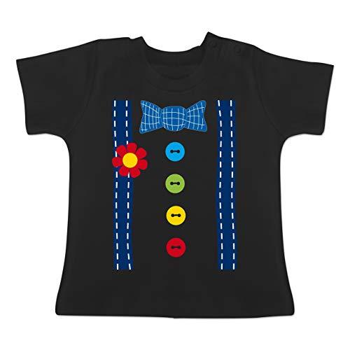 Karneval und Fasching Baby - Clown Kostüm blau - 1-3 Monate - Schwarz - BZ02 - Baby T-Shirt Kurzarm