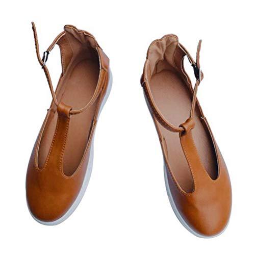 Sommer Beiläufige Wölbung T Bügel Runde Zehe Beschuht Frauen-Weinlese-Feste Müßiggänger-Schuh-Frauen-einzelne Schuhe (Loafer Braun Bass)