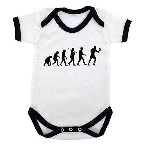 Evolution of Boxen Design Baby Body mit Schwarz Kontrast Rand und schwarz print Gr. 56, schwarz (Kontrast-rand)