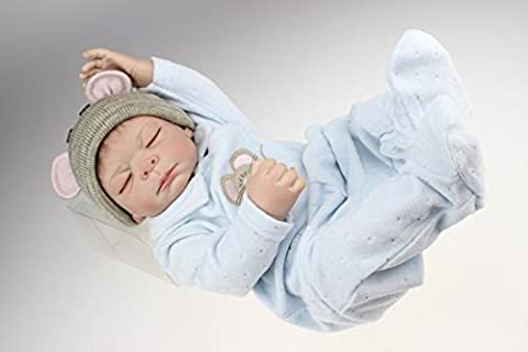 Nicery Reborn Baby Doll Hard Silicone 20inch 50cm Magnetic Lovely Lifelike Cute Boy Girl Toy Blue Cloth A3US
