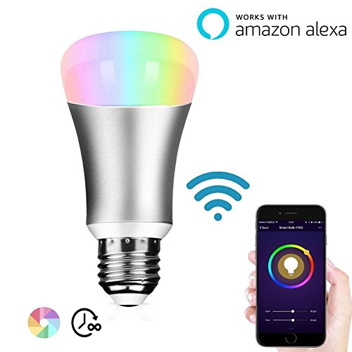 Lombex Smart Led Light bulb Wifi Home Automation Night Light 60W Equivalent A19 Led Bulb RGBW Color Changing Mood Light Work With IOS/Android Tablet For Relaxation Party Lights Or Decorative Bulbs E27 Base