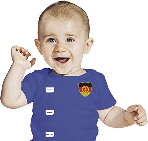 DDR Deutschland BABY T-Shirt - Trikot Look - Gr. 56-98 - blau (0-6 Monate)