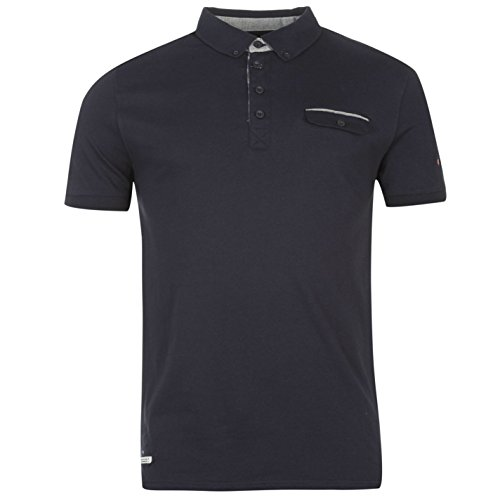 Lambretta Herren Fashion Polo T Shirt Kurzarm Classic Fit Tee Top Bekleidung Blau Extra Lge (Tee Baumwoll-performance-pocket Herren)