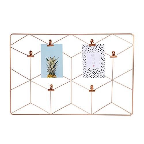 dresz Metall Wandgitter, Hängender Fotorahmen, Wanddekoration Organizer, Gitter Panel, Einschließlich 2 Trendy Karten und 6 Clips, Rose Gold, 37 x 55 cm