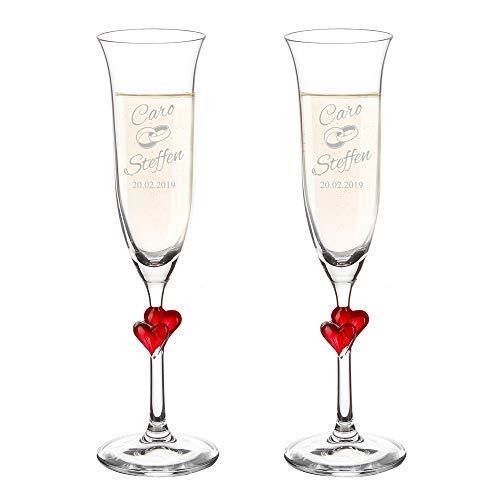 AMAVEL - Set de 2 flûtes à champagne avec cœur rouge - Gravure pour couple - Motif anneaux - Personnalisées avec [NOMS] et [DATE] - Coupe de champagne - Cadeau de mariage - Volume : 175 ml