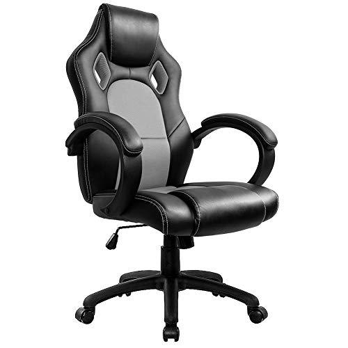 Gaming Stuhl Chair, Hoch Rücken Ergonomischer PU Leder Bürostuhl Racing Drehstuhl Computer Schreibtisch Sportsitz Gaming schreibtischstuhl High Back Büro Chefsessel Kunstleder (Grau)