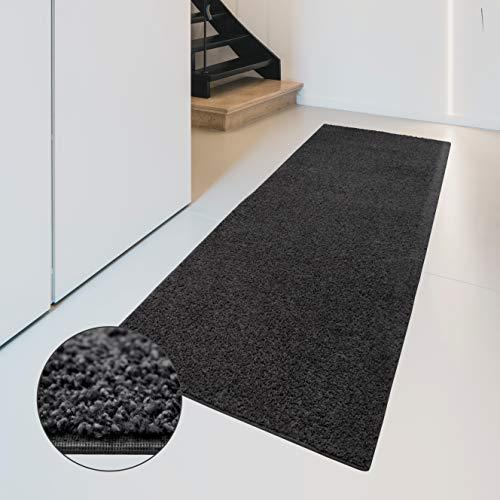 Carpet studio soffice passatoia 67x180cm, tappeto per salotto/cucina/camera da letto/corridoio, decorazioni casa, facile da pulire, rifinito a mano, basalt