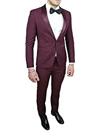 Abito Completo Uomo Sartoriale Bordeaux Raso Vestito Smoking Elegante  Cerimonia c46d0766d42