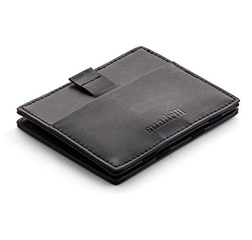 Sundrill® Magic Wallet mit Münzfach/Kleingeldfach & RFID-Schutz - Geldklammer mit Zipper - Geldbeutel Klein & Slim - Schwarz (Pocket Wallet Slim Zwei)